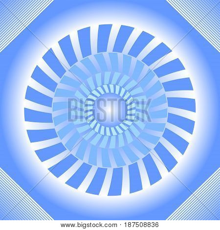 Blue tile with circle absteract shape in op-art style with 3d illusion vector eps10