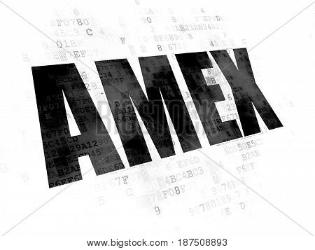 Stock market indexes concept: Pixelated black text AMEX on Digital background