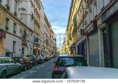 Paris France - May 1 2017: Rue de Montyon road in evening the small alley in central Paris on May 1 2017 in Paris France.
