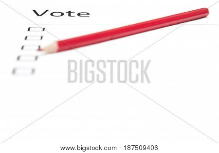 Voting bulletin with red pencil to make choice