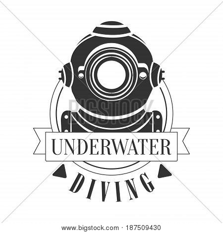 Diving underwater vintage logo. Black and white vector Illustration for diver school or club emblem, elements for badge, print, tattoo, label