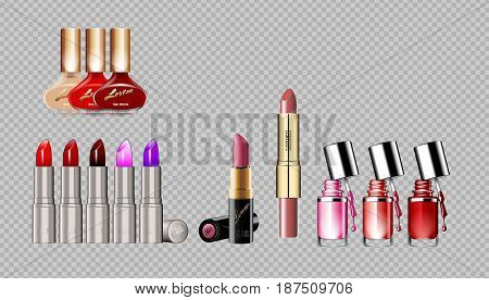 Digital vector silver container and colored glamorous lipsticks and nail polish set mockup, with your brand, ready for print ads or magazine design. Glossy and shine, realistic 3d style
