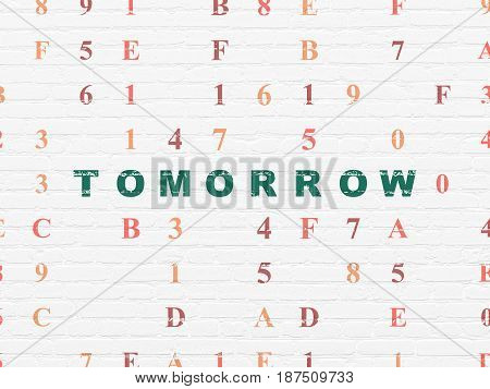 Time concept: Painted green text Tomorrow on White Brick wall background with Hexadecimal Code