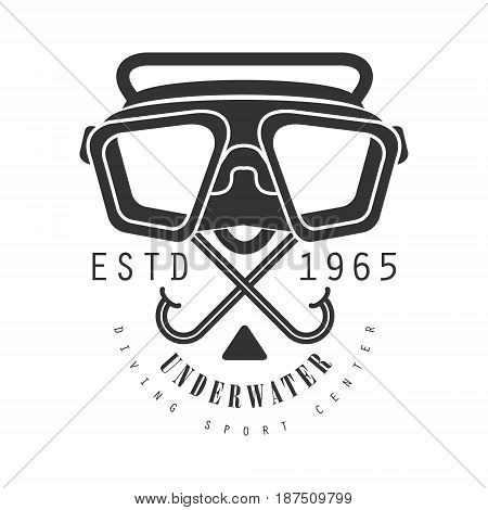 Underwater diving sport center estd 1965 vintage logo. Black and white vector Illustration for diver school or club emblem, elements for badge, print, tattoo, label