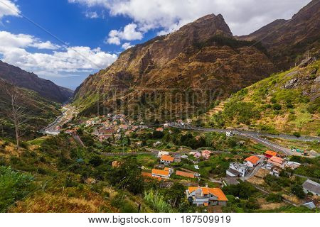 Mountain village Serra de Aqua in Madeira Portugal - travel background