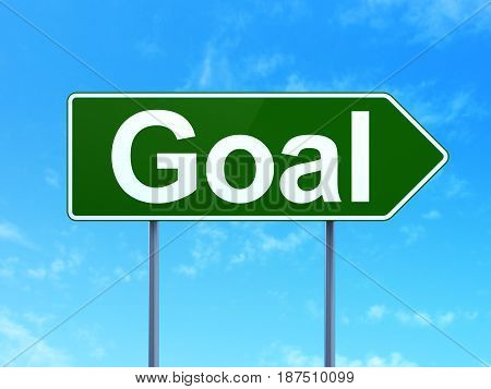 Advertising concept: Goal on green road highway sign, clear blue sky background, 3D rendering