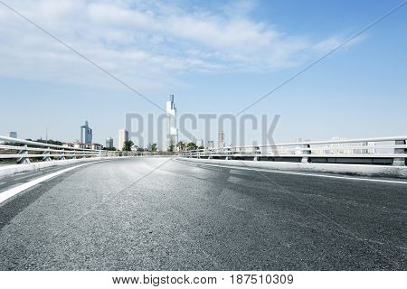 empty road with landmark buildings in nanjing