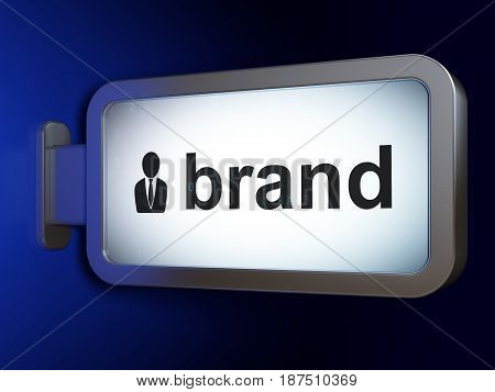 Marketing concept: Brand and Business Man on advertising billboard background, 3D rendering