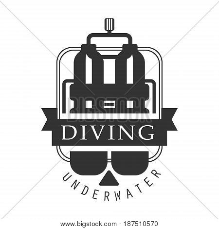 Diving underwater logo. Black and white vector Illustration for diver school or club emblem, elements for badge, print, tattoo, label