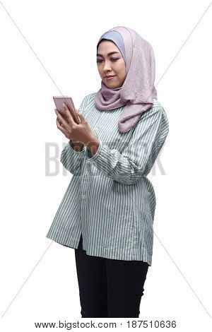 Beautiful Asian Muslim Woman Using Mobile Phone