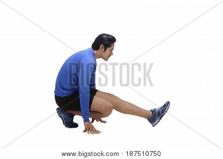 Handsome Asian Man Athlete Doing Stretching Legs Before Running