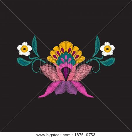 vector beautiful flowers embroidery for textile design elements. Embroidered design elements with flowers and leaves in vintage style on black background
