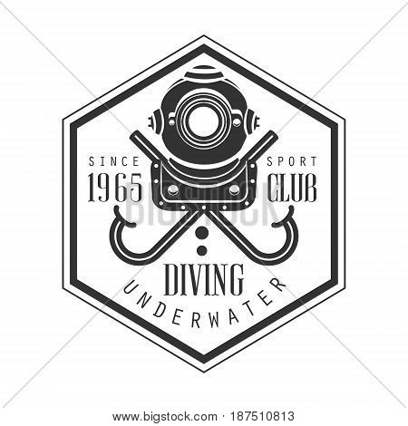 Diving underwater sport club since 1965 vintage logo. Black and white vector Illustration for diver school or club emblem, elements for badge, print, tattoo, label