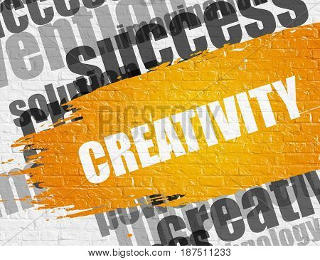 Education Service Concept: Creativity on the White Brick Wall Background with Wordcloud Around It. Creativity Modern Style Illustration on the Yellow Brush Stroke.