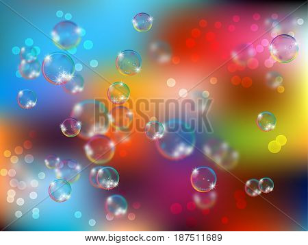 Glossy realistic and translucent soap bubble with glowing sparkles illustration on light background