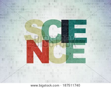 Science concept: Painted multicolor text Science on Digital Data Paper background