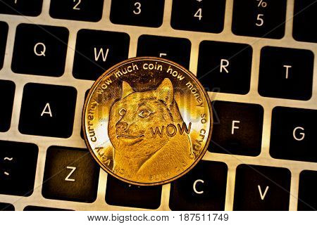 Cryptocurrency physical gold dogecoin money on the keyboard