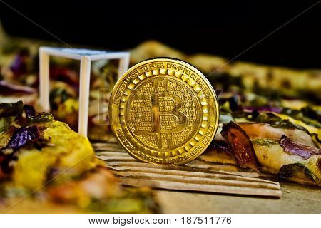 Gold Bitcoin Coin And Hot Pizza