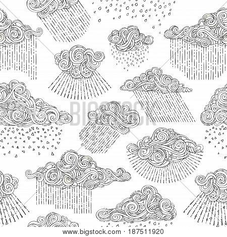 Vector Seamless Doodles Rainy Pattern.
