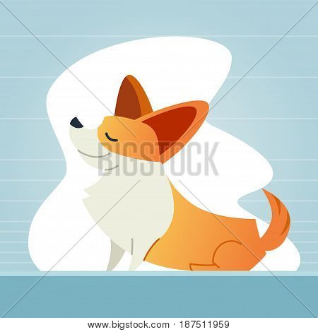 Dog - modern vector flat illustration. Cartoon animal character. Gift image of corgi sitting, smiling, having a good time.