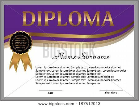 Purple diploma or certificate. Gold decorative elements. Reward. Winning the competition. Award winner. Vector illustration.