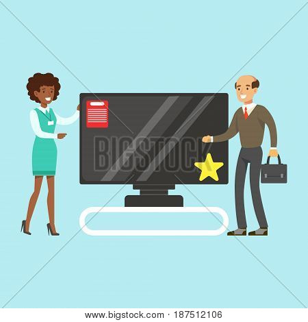 Man choosing TV with shop assistant help in appliance store colorful vector Illustration, cartoon character