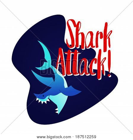 Shark - modern vector phrase flat illustration. Cartoon animal character. Gift image of fish swimming, attacking in the deep sea.