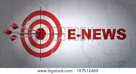 Success news concept: arrows hitting the center of target, Red E-news on wall background, 3D rendering