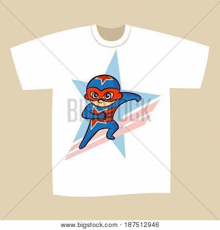T-shirt Print Design Cartoon Superhero Vector Illustration
