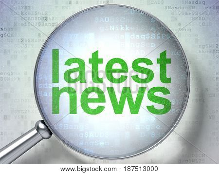 News concept: magnifying optical glass with words Latest News on digital background, 3D rendering