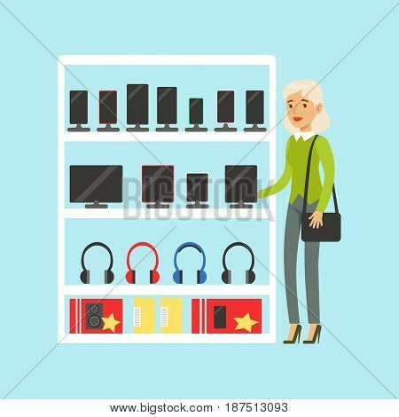 Young blond woman choosing digital tablet at appliance store colorful vector Illustration, cartoon characters