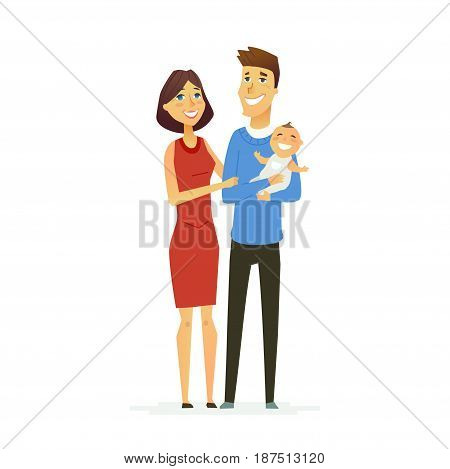 Family - colored vector modern flat illustration composition of cartoon people characters. Father, mother, cute baby. United and happy.