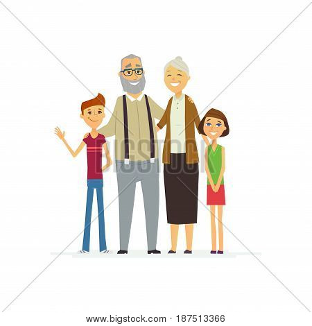 Family - colored vector modern flat illustration composition of cartoon people characters. Grandfather, grandmother, granddaughter, grandson. United and happy.