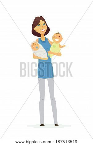 Family - colored vector modern flat illustration composition of cartoon people characters. Single parent. Mother in a blue t-shirt, two cute and adorable babies. United and happy.
