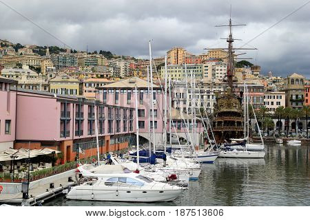 Travel To Genoa, Italy. The View On The Seaport With A Lot Of Ships.