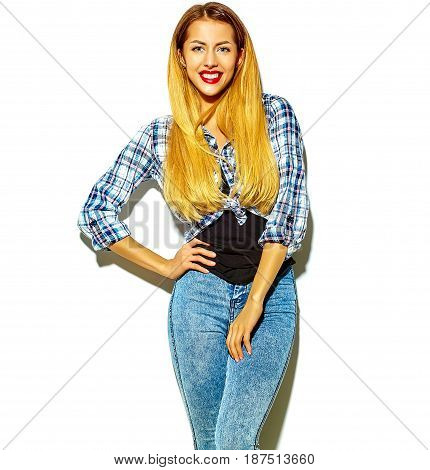Blond Woman Girl In Casual Hipster Summer Clothes