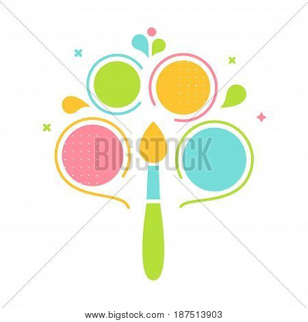 Creative Idea, Process and Thinking. Brush and Bubbles Infographics Template