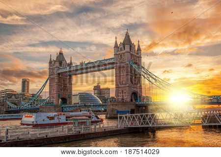 Tower Bridge Against Colorful Sunset In London, England, Uk