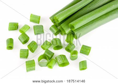 Chopped fresh spring onions isolated on white background.