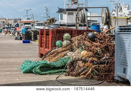 Fishing materials on the harbor pontoon of Les Sables d'Olonne