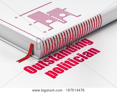 Political concept: closed book with Red Election icon and text Outstanding Politician on floor, white background, 3D rendering