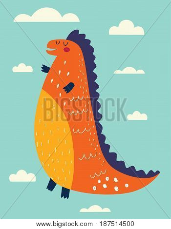 Vector illustration with funny dinosaur against the sky