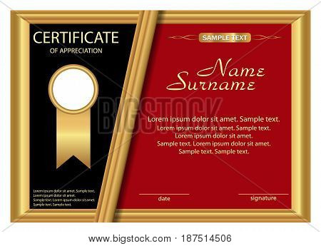 Template certificate of appreciation. Elegant gold black and red design. Vector illustration.