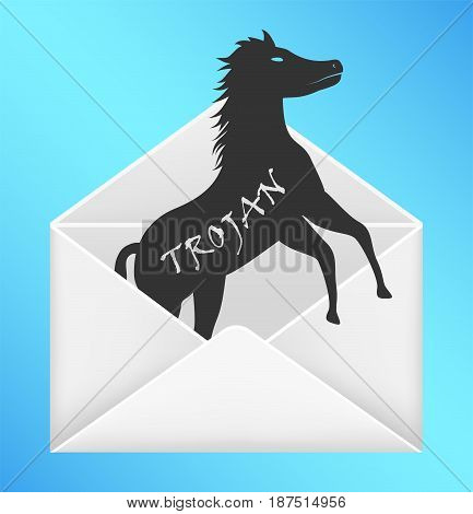 email envelope open with trojan horse computer virus