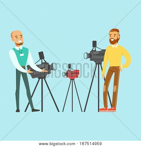 Young man choosing camcorder with shop assistant help in appliance store colorful vector Illustration, cartoon character