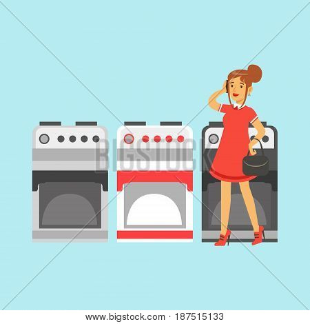Young woman choosing an electric stove in home appliance store colorful vector Illustration, cartoon character