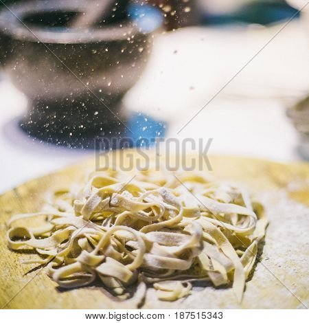 Man making pasta, Italian cuisine and gluten-free
