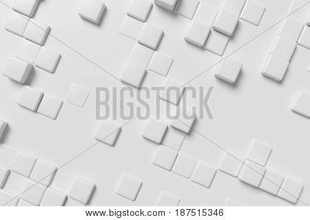 Abstract white graphic wall background made of white cubes in front view 3d illustration for different conceptual graphic design projects