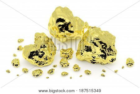 Golden nuggets closeup isolated on white background. Gold ore in its origin as pieces of gold. 3D illustration