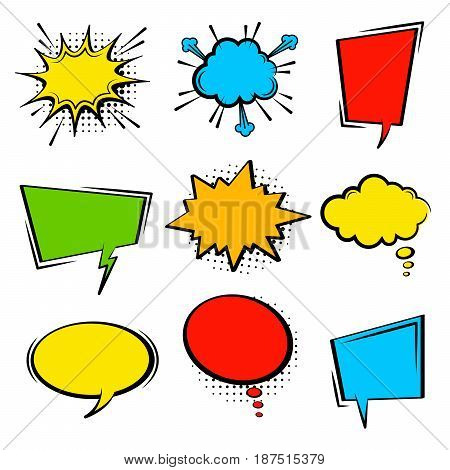 Comic speech bubble set. Empty cartoon colored cloud pop art expression speech boxes. Comics book vector background template with halftone dots.